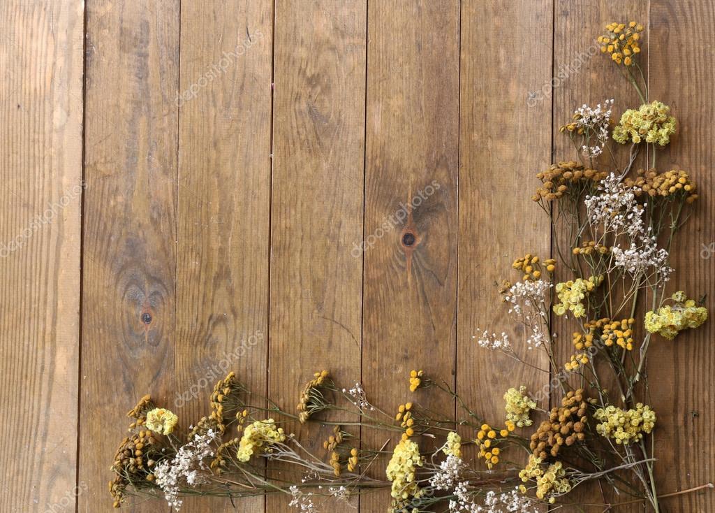 flores secas en el fondo de tablas de madera rstica fotos de stock - Madera Rustica