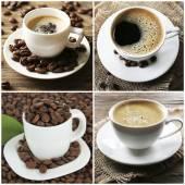 Tassen Kaffee und Bohnen