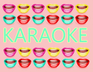 Text in frame made of open mouths with bright lipstick, Karaoke concept