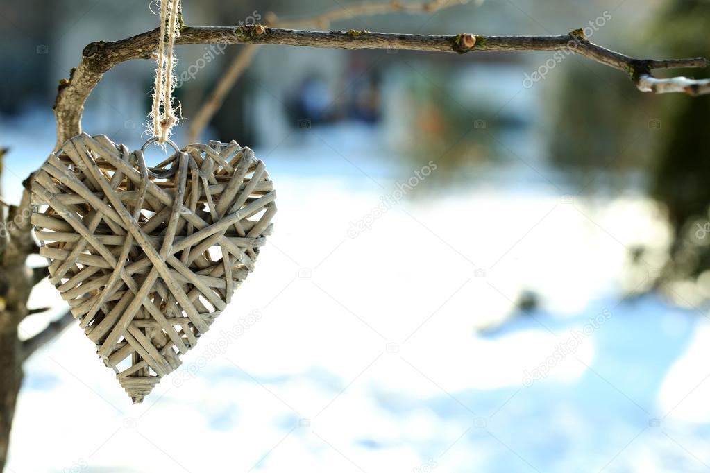 Branche d 39 arbre avec d coration coeur sur fond de nature photographie belchonock 63418055 - Branche arbre decoration ...