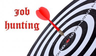 Dart board and Job Hunting text on background isolated on white