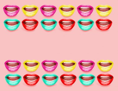 Space for your text in frame made of open mouths with bright lipstick, Karaoke concept