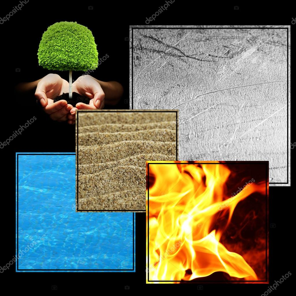 collage feng shui. Collage Of Feng Shui Destructive Cycle With Five Elements (water, Wood, Fire, Earth, Metal) \u2014 Photo By Belchonock