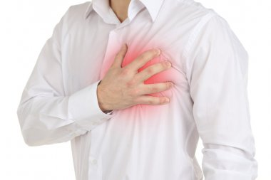 Man having chest pain - heart attack