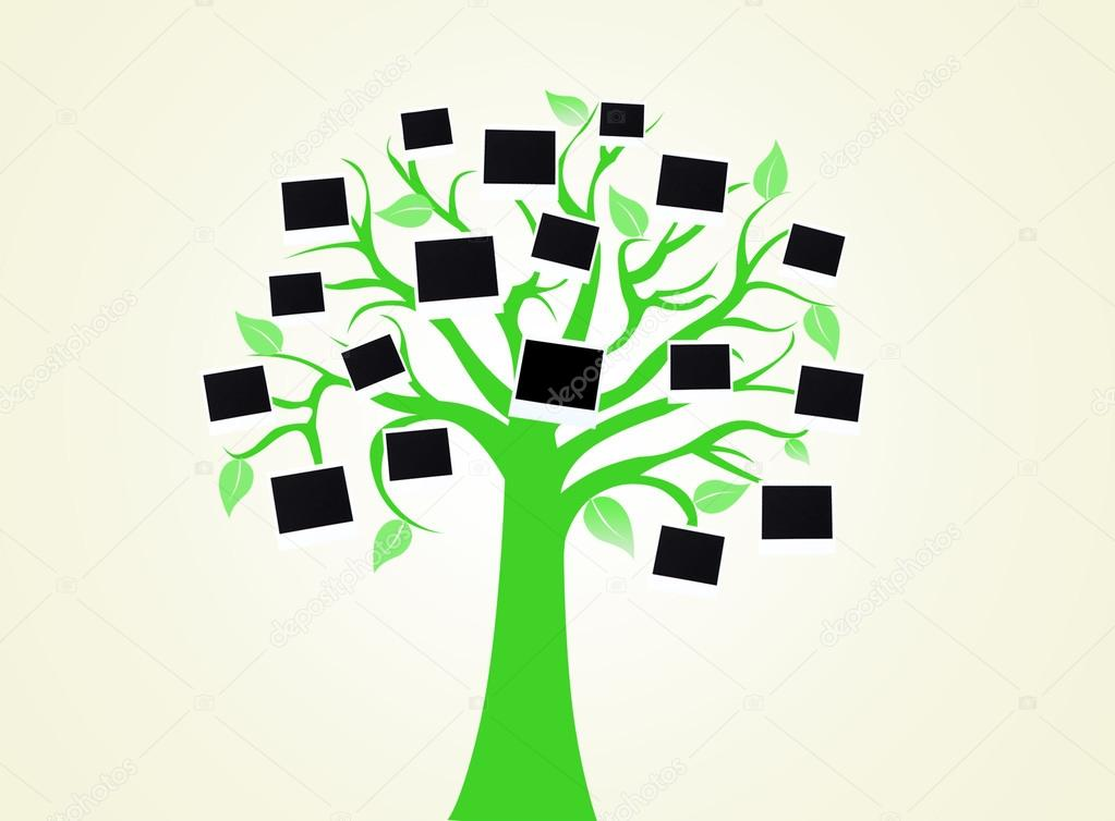 Big green tree with photo cards on light color background