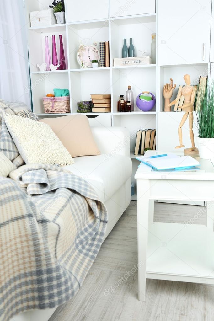 Modernes Design Wohnzimmer In Hellen Farben, Drinnen U2014 Stockfoto