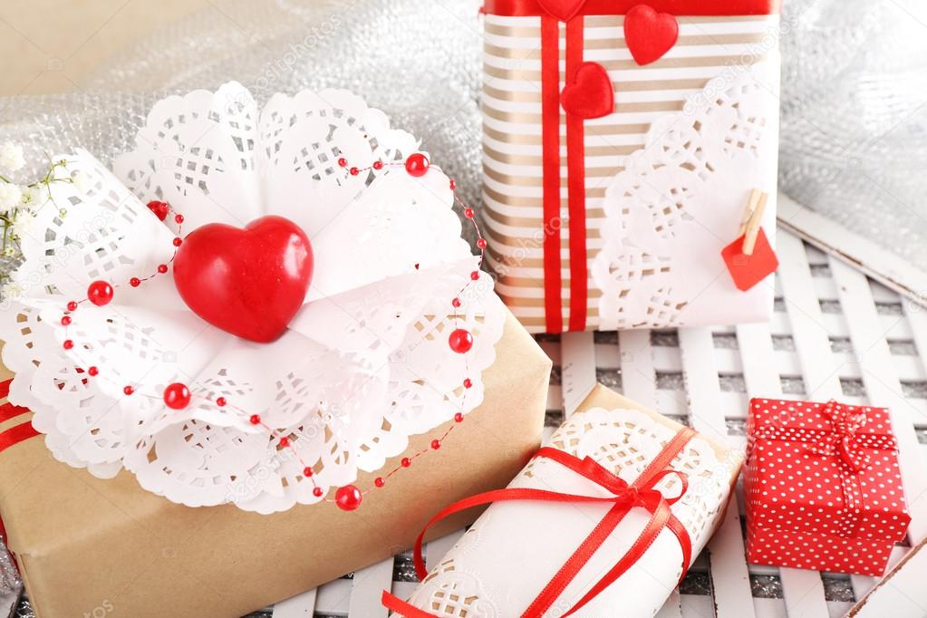 Handmade Gifts On Valentine Day On Fabric Background Stock Photo