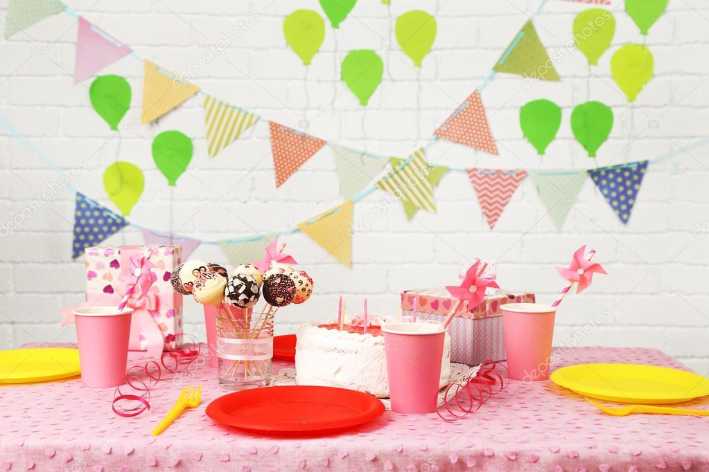 Prepared Birthday Table For Children Party Stock Photo