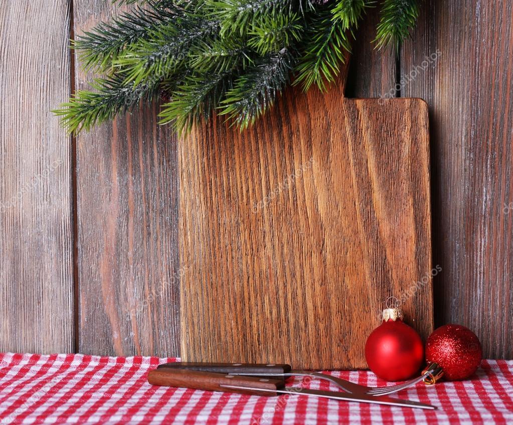 Assi Di Legno Decorate : Tagliere con decorazione di natale su fondo di assi di legno u2014 foto