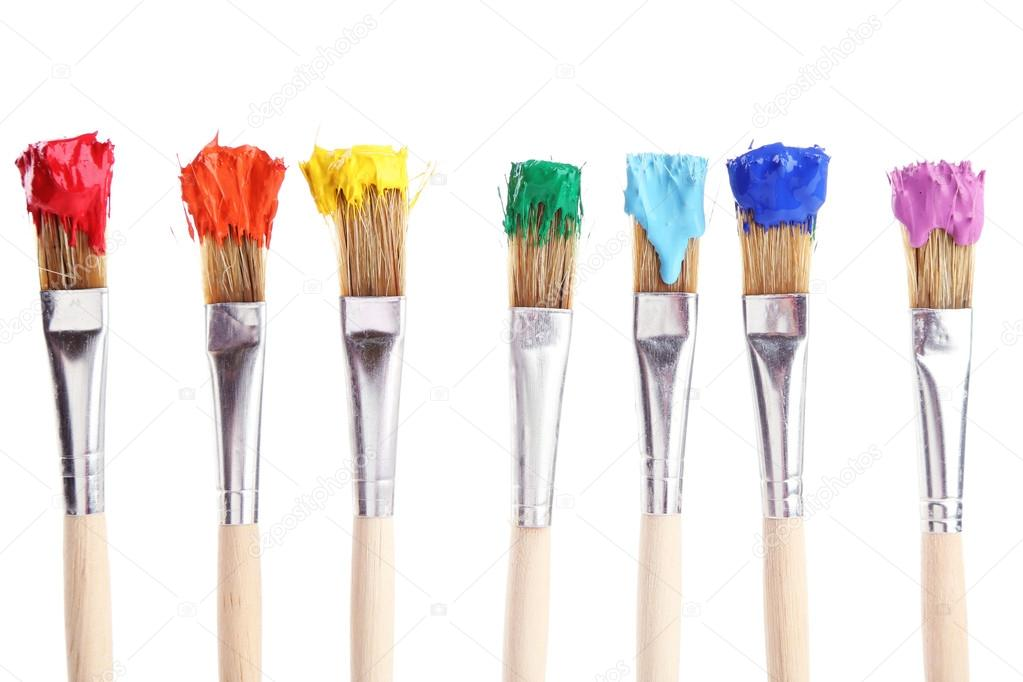 Brushes with colorful paints