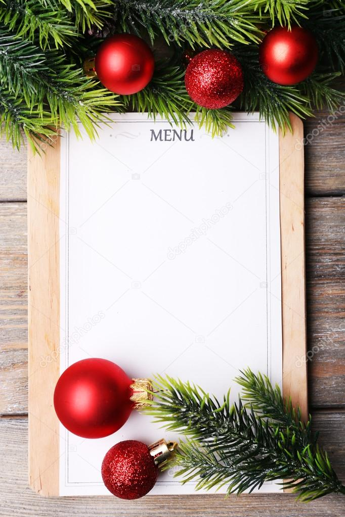 menu board with christmas decoration on wooden planks
