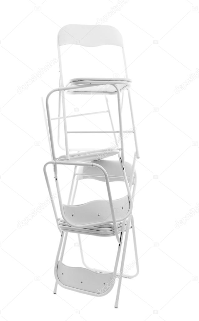 Excellent Stack Of Metal Chairs Isolated On White Stock Photo Evergreenethics Interior Chair Design Evergreenethicsorg