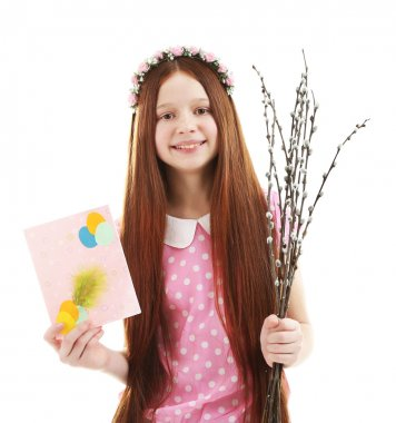 Beautiful little girl with pussy-willow branches and postcard, isolated on white