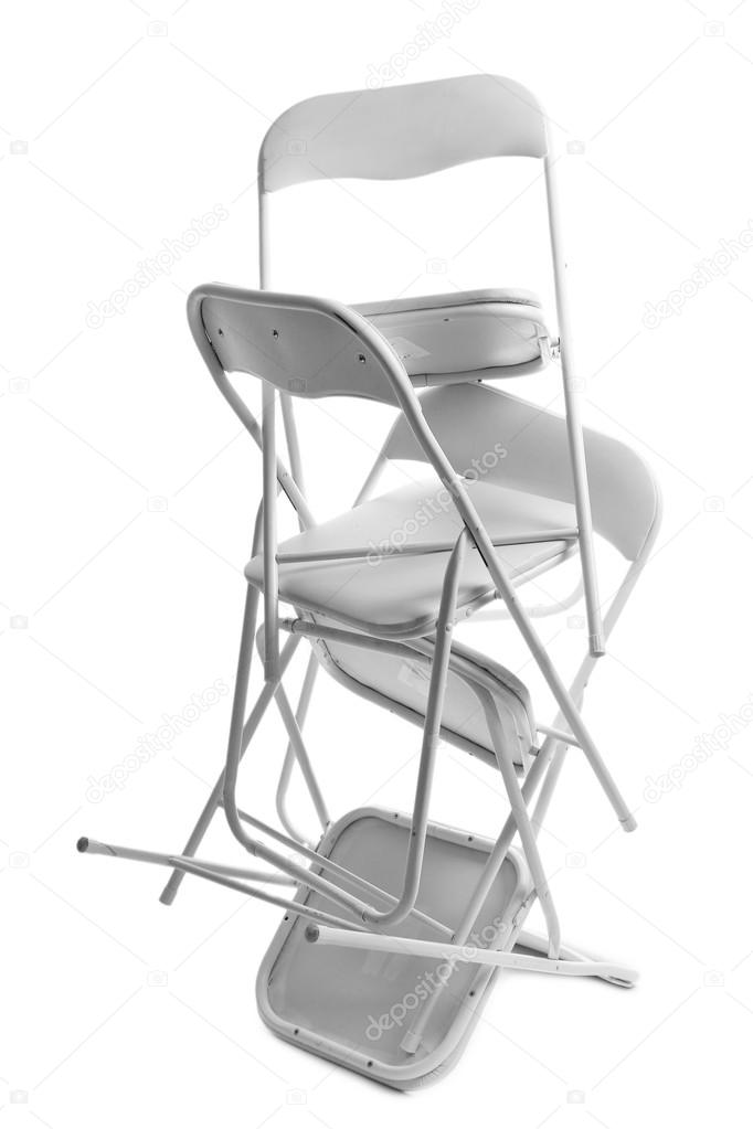 Enjoyable Stack Of Metal Chairs Isolated On White Stock Photo Evergreenethics Interior Chair Design Evergreenethicsorg