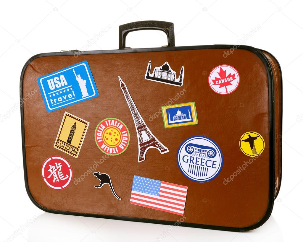 travel suitcase with stickers stock photo belchonock 69255351. Black Bedroom Furniture Sets. Home Design Ideas