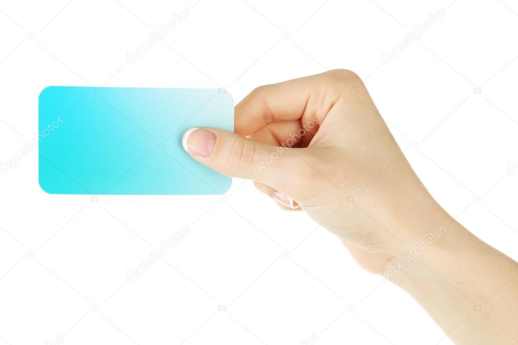 Hand holding business card, isolated on white — Stock Photo ...