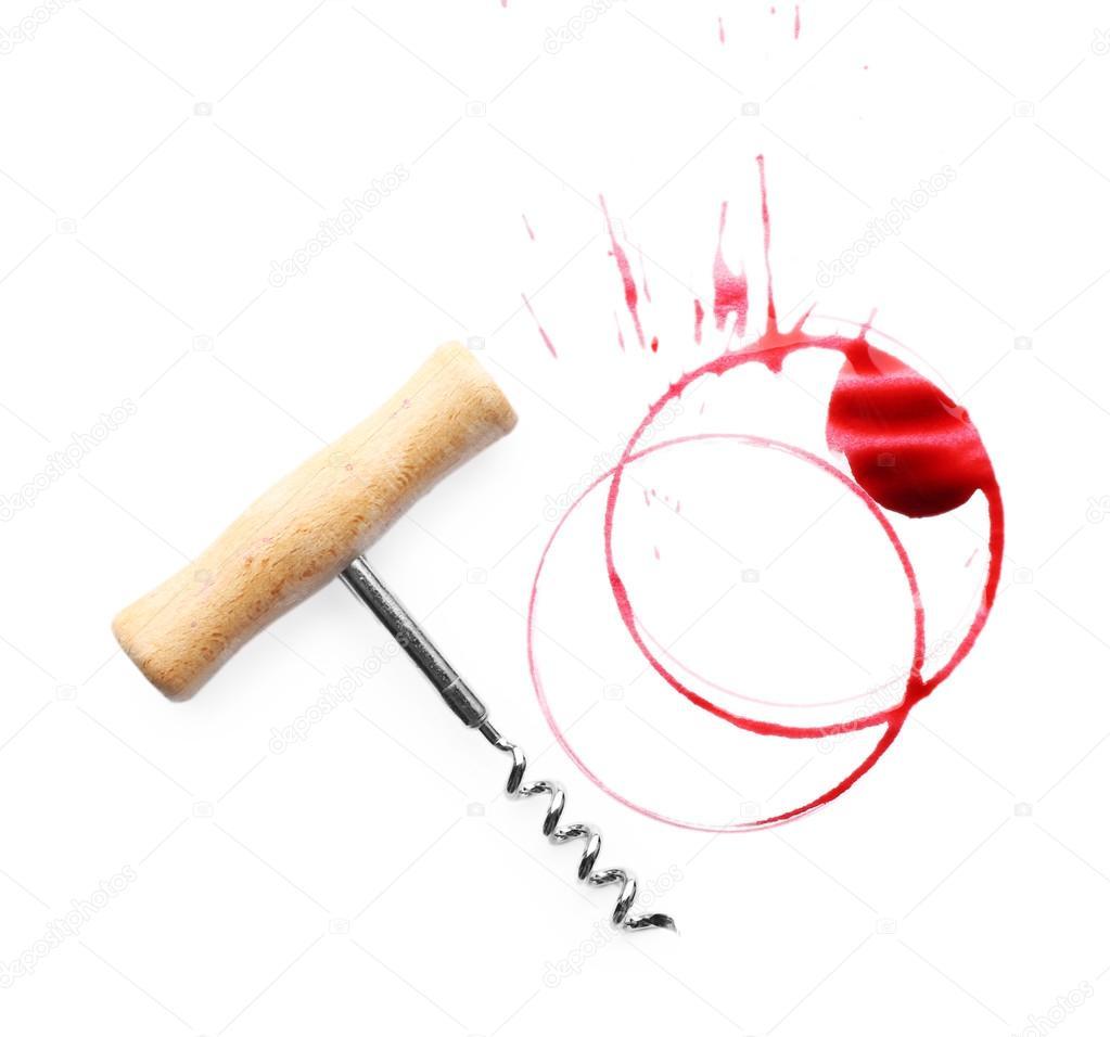 Manchas de vino y sacacorchos aislado en blanco foto de - Manchas de vino ...
