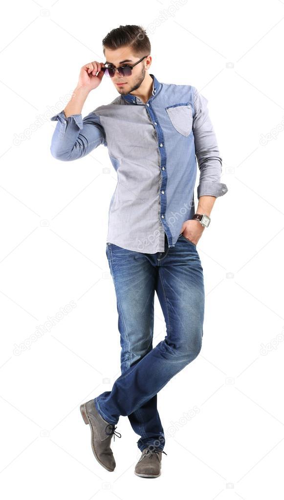 Y Blanco Hombre Aislados Azul Pantalones En De Vaqueros Camisa CnCwtx8Hzq