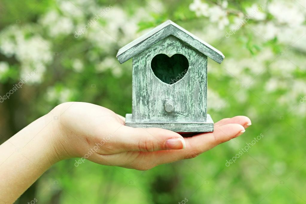 Decorative nesting box in female hands on blooming garden background