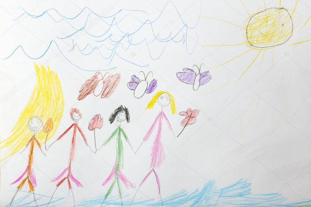 Niños de dibujo en hoja en blanco — Fotos de Stock © belchonock ...