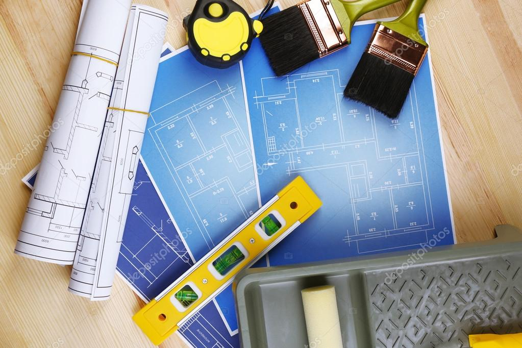 Construction instruments, plan and brushes