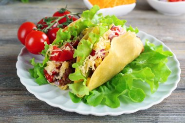Tasty taco with vegetables