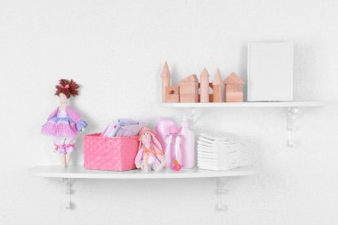 Baby accessories on shelves