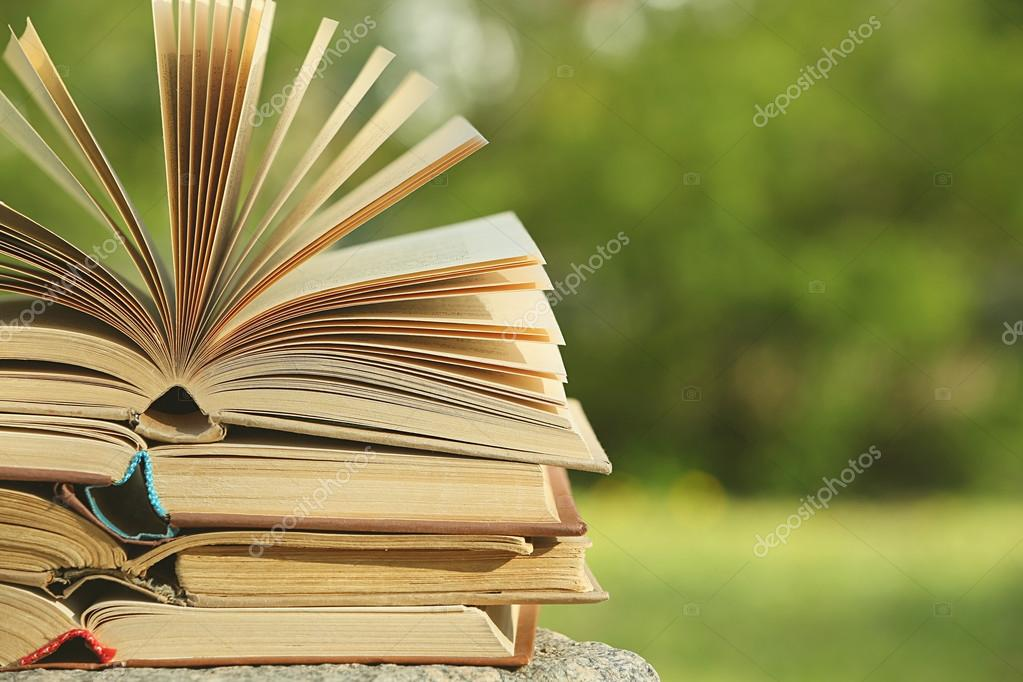 Stack of books outdoors