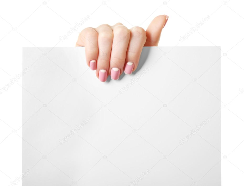 female hand holding paper blank isolated on white stock photo