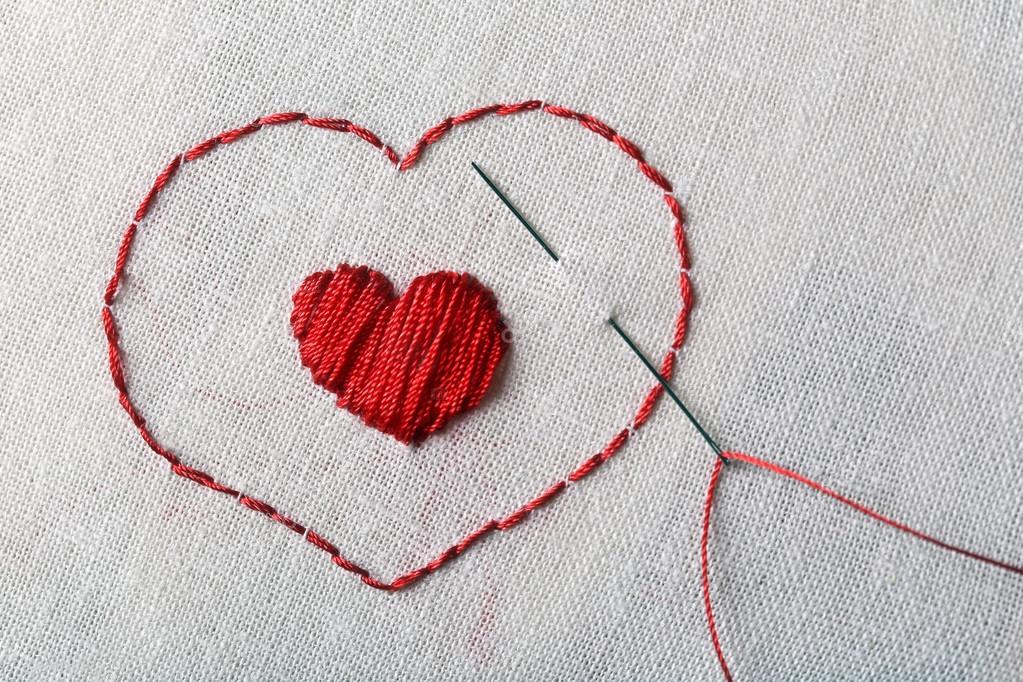 Вышивка крестом красными нитками #можно завязывать красную 95