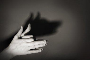 Hands gesture like dog face