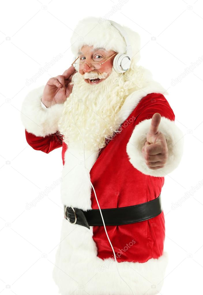 santa claus with headphones listening to music isolated on white background stock photo - White Santa Claus