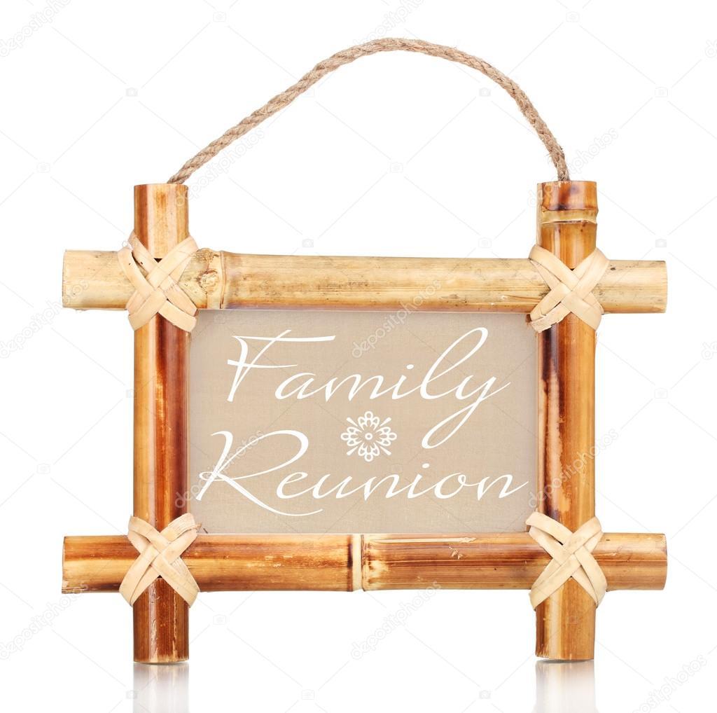 cadre photo bambou avec texte regroupement familial isol sur blanc photographie belchonock. Black Bedroom Furniture Sets. Home Design Ideas