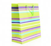 Striped shopping paper bags isolated on white
