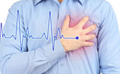Uomo che ha dolore toracico - attacco di cuore