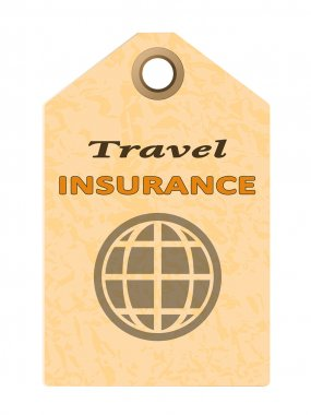 Travel insurance tag isolated on white