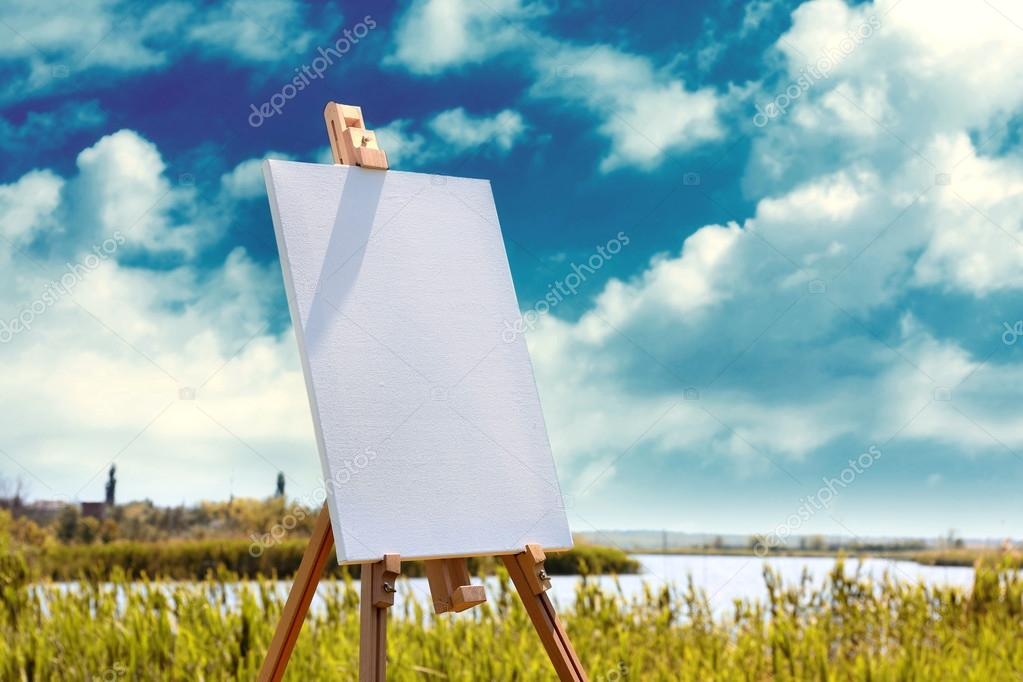 Easel with canvas outdoors