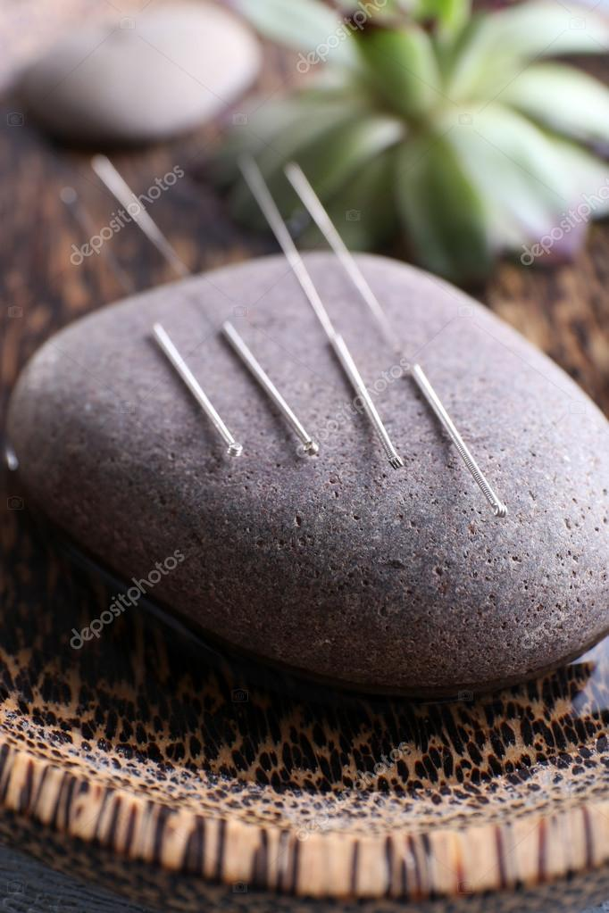 Acupuncture needles with spa stone
