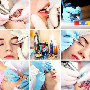Collage of permanent make-up