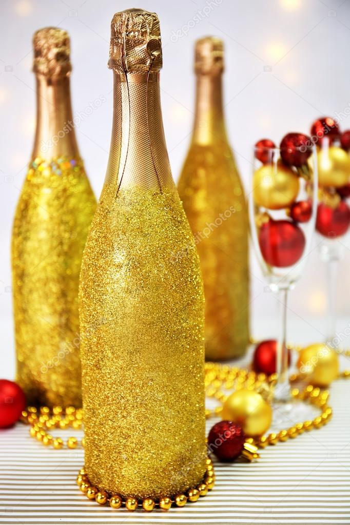 Decorative Champagne Bottles Fascinating Decorative Champagne Bottles — Stock Photo © Belchonock #77993346 Design Ideas