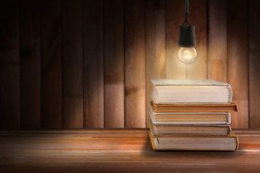 Lightbulb and books