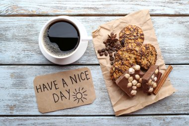 coffee with  croissant and Have A Nice Day massage