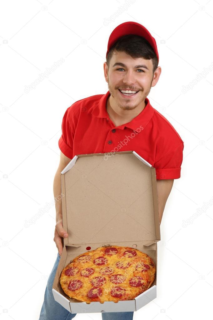 Repartidor de pizza de cartón — Fotos de Stock © belchonock #80648412