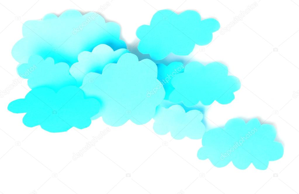 Blue paper clouds, isolated