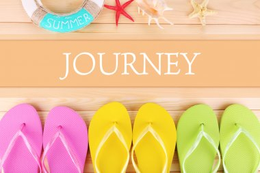 Journey concept with Bright flip-flops