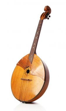 Folk musical instrument domra isolated on white