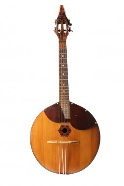 Folk musical instrument domra isolated on white