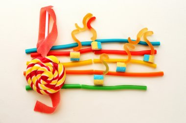 Treble clef and musical notes of candies