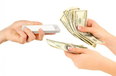 Smart phone and money on hands- pawnshop concept