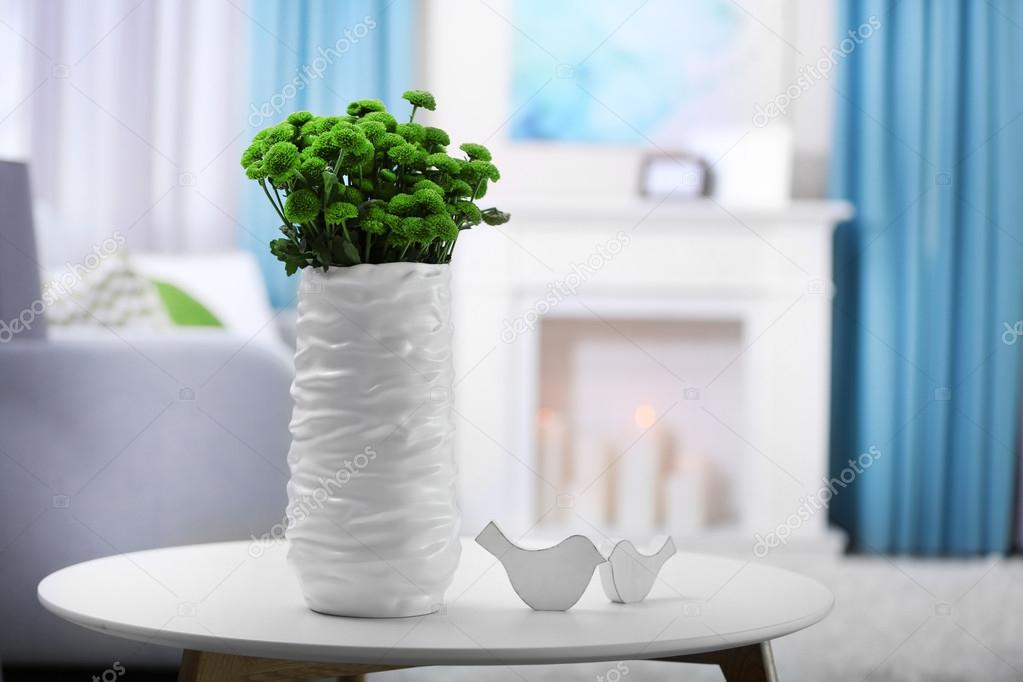Green Chrysanthemums In Vase On Table Stock Photo Belchonock